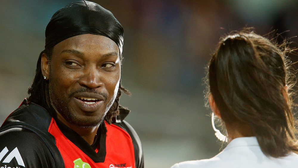 Melbourne Renegades player Chris Gayle has been in hot water over his comments this week to broadcaster Mel McLaughlin. Photo: Getty Images.