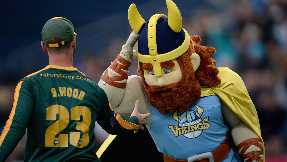 Even the Yorkshire Vikings mascot is taking part in some tongue in cheek rivalry. Photo: Getty Images.