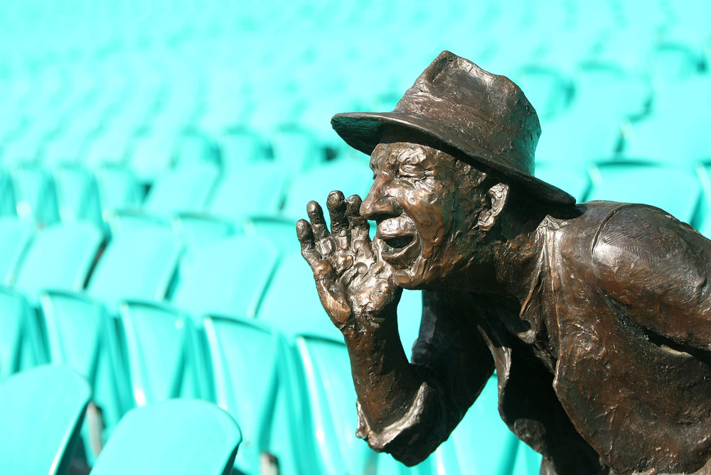 The bronze sculpture of iconic Sydney Cricket Ground supporter Stephen Harold Gascoigne, known as 'Yabba' at the Sydney Cricket Ground. Photo: Getty Images.
