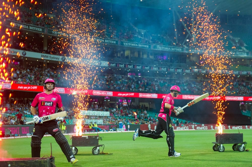 Welcome to the cricket, Big Bash League style. Photo: Ian Bird//Sydney Sixers