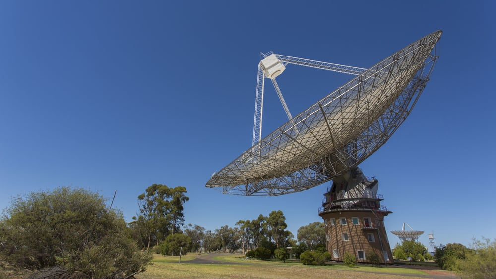 This large satellite dish in Parkes that was featured in the movie The Dish and in the film hosted a game of cricket. Photo: Getty Images.