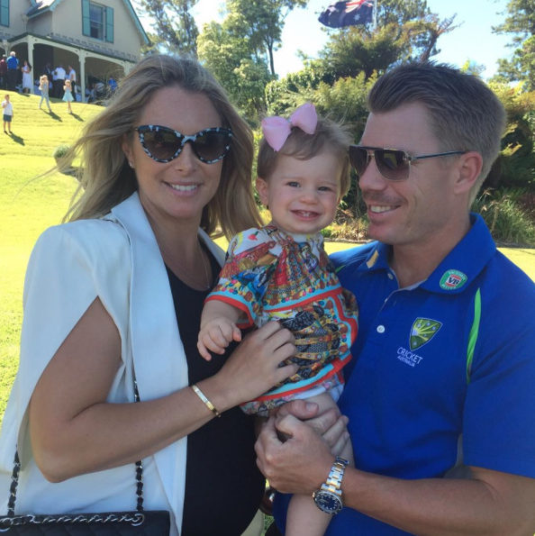 Candice and David Warner with their daughter Ivy Mae. Photo: David Warner Instagram.
