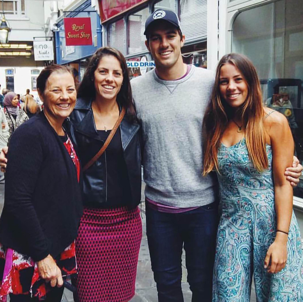 Pat Cummins and his mother (left) and two sisters. Photo: Sourced.