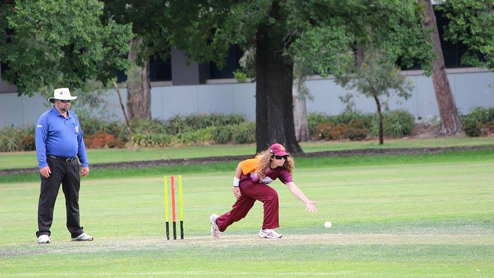 Chrissy Brincat playing with the Brisbane team during the Blind Cricket Championships. Photo: Sourced