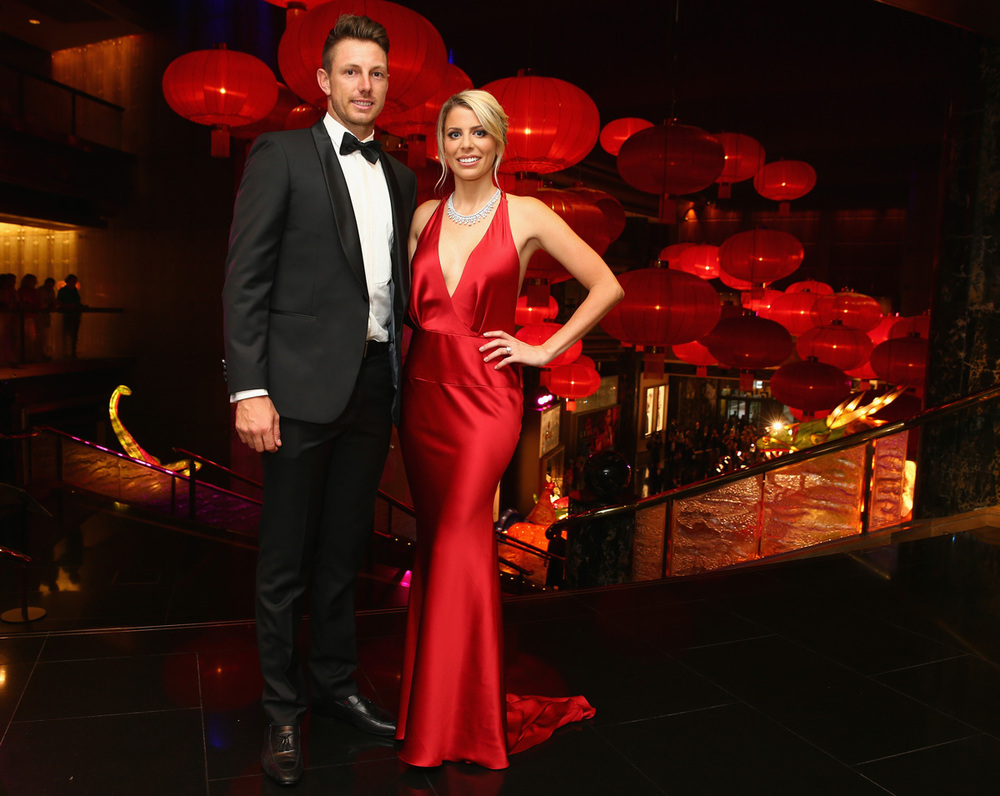 James Pattinson and partner Kayla Dickson, dressed in Oglia-Loro Couture