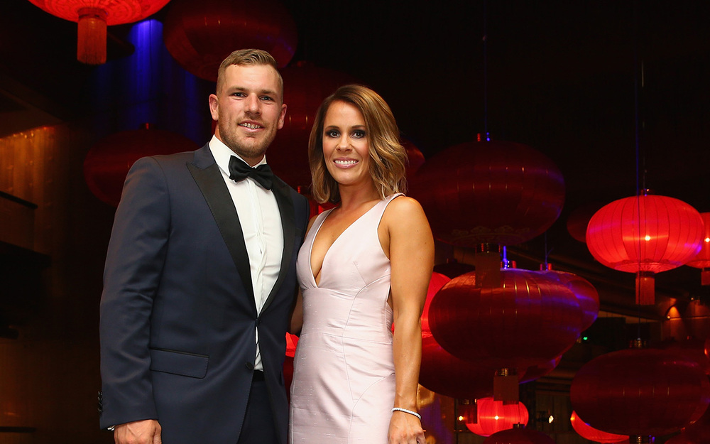 Aaron Finch and Amy Griffiths, dressed in Bonita Couture