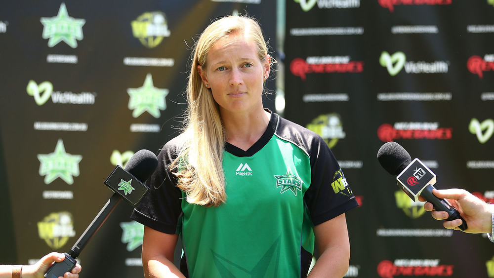 Meg Lanning fronts a press conference. Photo: Getty Images.