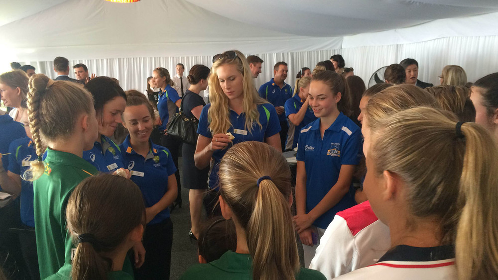 Holly Ferling met some Southern Stars fans at The Lodge. Photo: Sourced.