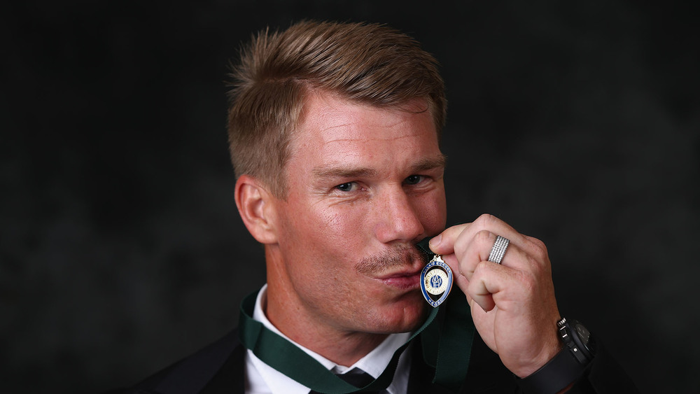 David Warner wins his first Allan Border Medal. Photo: Getty Images.
