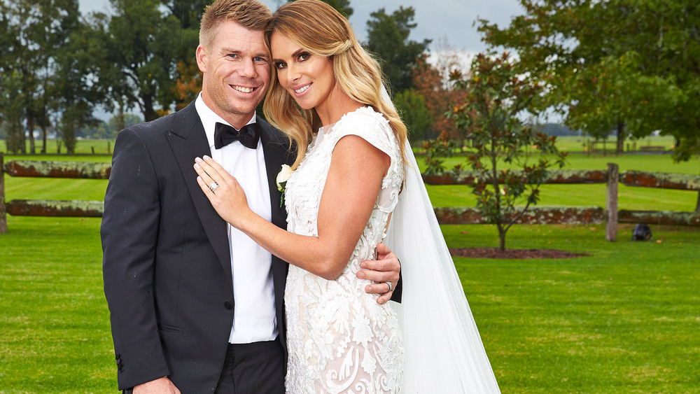 It was whirlwind romance for David Warner and Candice Falzon. Pictured here at their 2014 wedding. Photo: Woman's Day.