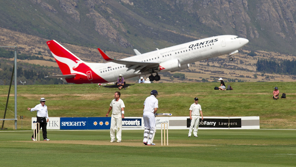 A Qantas plane has the best view in the house over Queenstown's popular cricket ground. Photo: Getty Images.