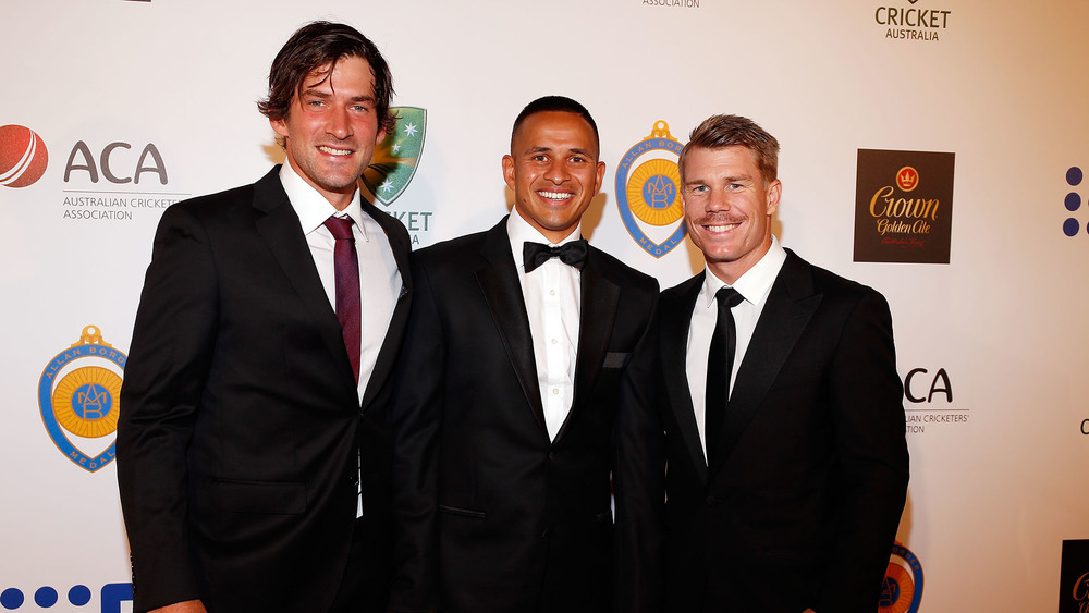Joe Burns, Usman Khawaja and David Warner are a fan of the modern bay bromance code. Photo: Getty Images.