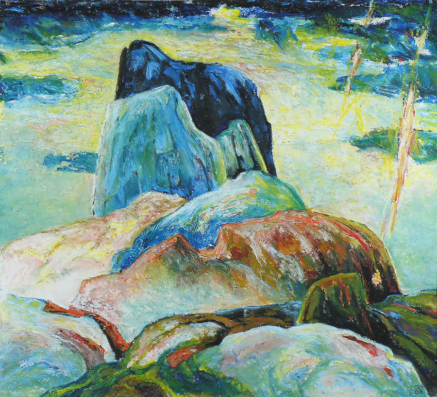 Black Tusk, 65cm x 55cm, Oilstick on Board, $2000