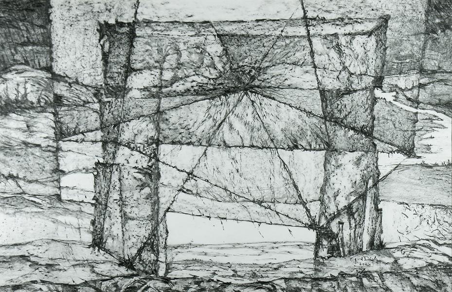 The Door of Time, 65cm x 100cm, Graphite on paper, $1300