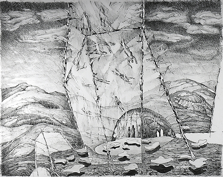 Evolution #1, 57cm x 73cm, Graphite on Paper, $1300