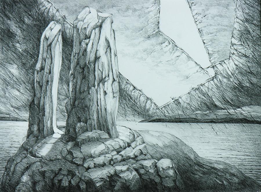 Spirit Rock, 69cm x 86cm, Graphite on Paper, $1300