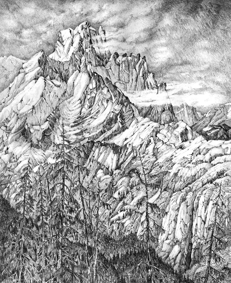 Devastater Peak, 77cm x 58cm, Graphite on Paper $1300