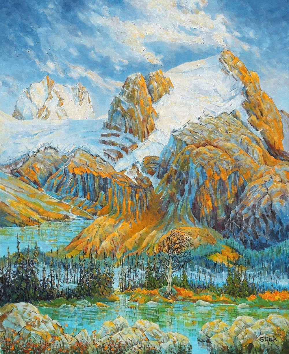 Mount Slalok, Joffre Lake,  73cm x 59.5cm, Medium: Acrylic on Board,  $2100