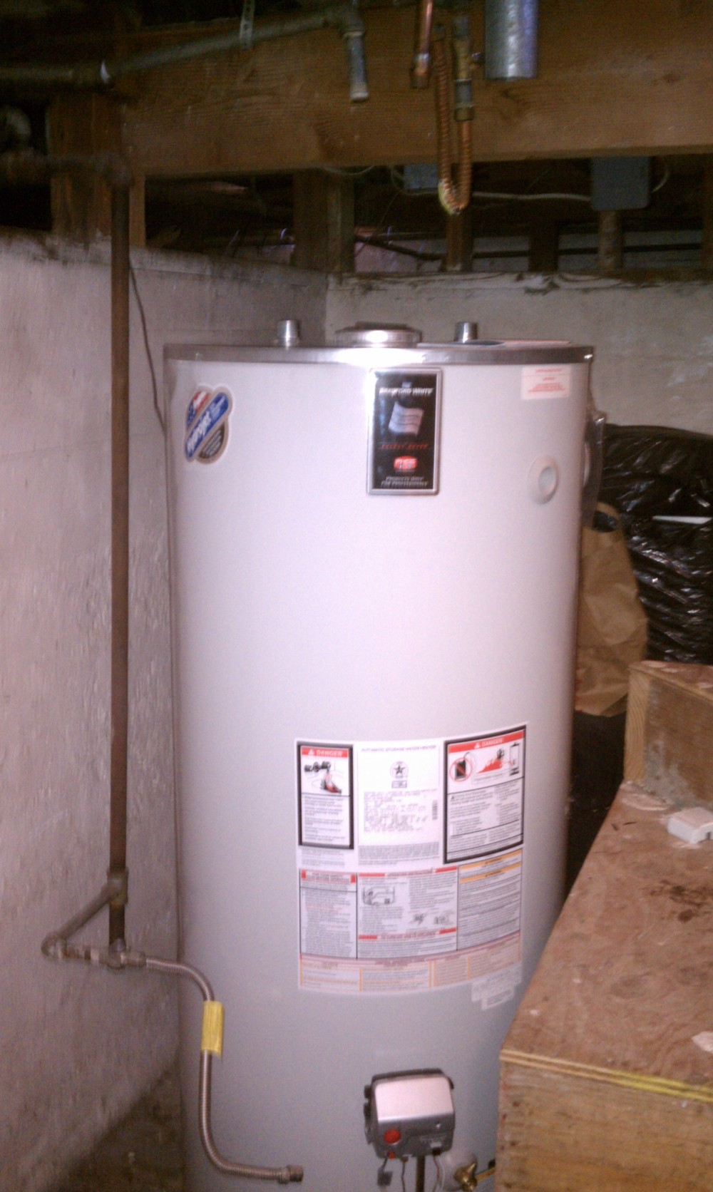 Bradford and white water heater