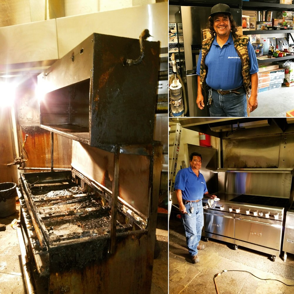 Far left: the fire damage that was done when the appliance malfunctioned. Notice this unit is completely unserviceable. Bottom right: plumbing expert Cesar puts the finishing touches on the new gas oven. Top right: that same day, Cesar was trying out a new haircut. We think the locks look good on him, what do you think?