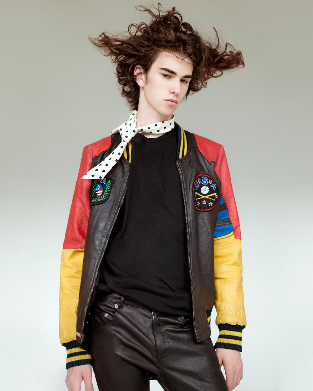 Vintage necktie   Vintage Letterman Jacket   Damir Doma tee   Saint Laurent pants