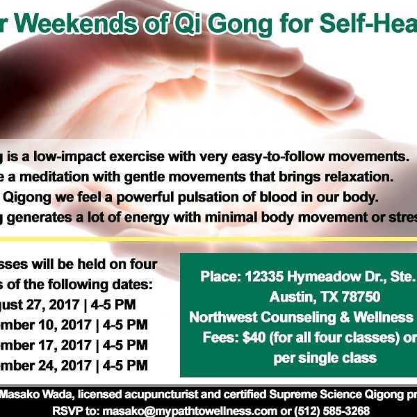 We're hosting a Qigong event on Aug 27!