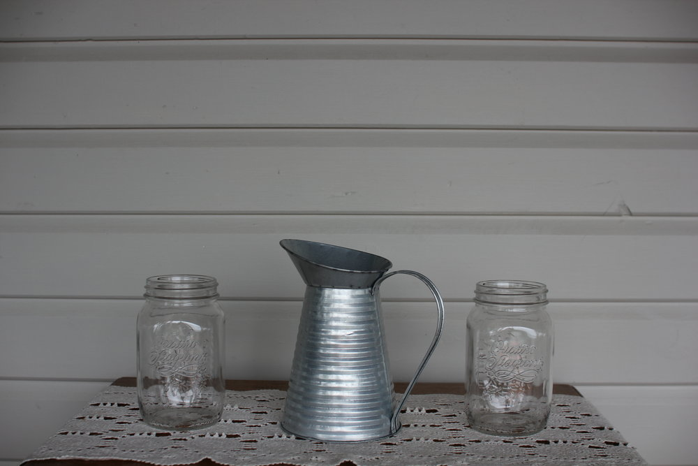 Large storage jars + Rustic Tin Metal Pitcher. -