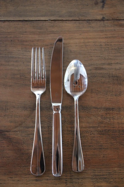 Table knife (25cm), table fork (21cm), dessert spoon (18cm).  - Quantity 110. $0.55 each