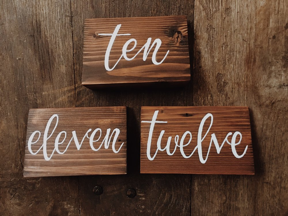 Table Numbers (1-12). - Qty 12. $4 each.