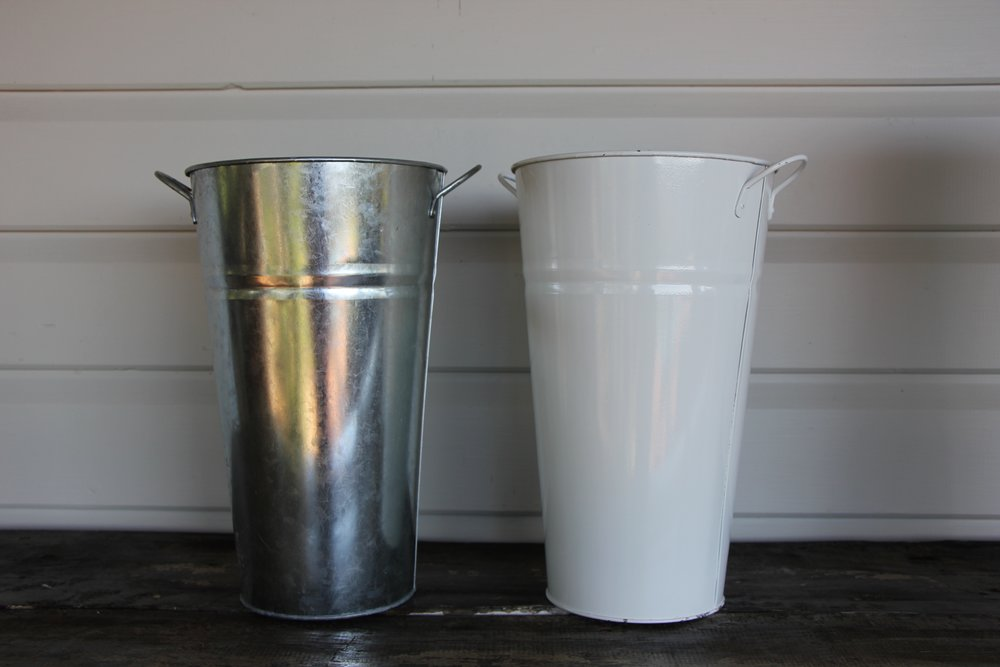 White/ Zinc display vase (18x30cm).   -  Qty 3. $4.50 each