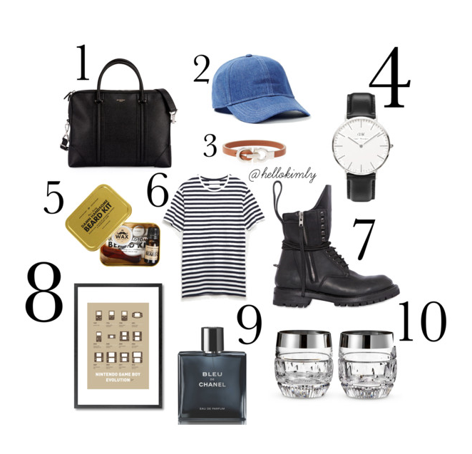 1. L.C. Small Leather Briefcase, Givenchy //2. Denim Look Cap, TOPMAN, $12 //3.Gancini Leather Bracelet, Salvatore Ferragamo, $250 //4. Classic Sheffield Watch, Daniel Wellington, $260 //5. Beard Grooming Kit, Men's Society, $38 //6. Striped T-Shirt, Zara $18 //7. Leather Combat Boots, Rick Owens //8. My Evolution Nintendo Gameboy Poster, Monde Mosaic, $90 //9. Eau de Parfun Homme Spray, Bleu De Chanel, $115 //10. Crystal Double Old-Fashioned Glasses, Waterford, $175