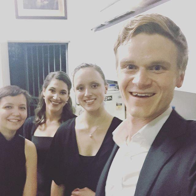 Interval selfie! Half way through our French programme on a stupidly hot night  #taimanaensemble #brisbane #concert #debussy #ravel #gaubert #françaix #dutilleux