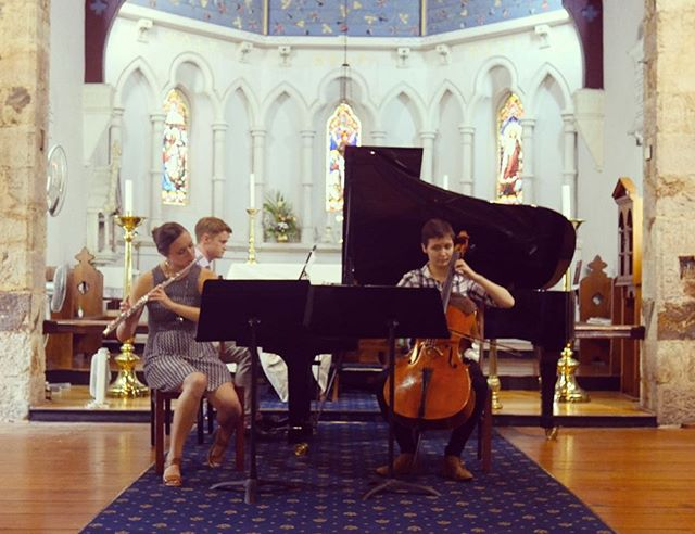 We had a great rehearsal today at St Mary's! From Haydn to Vine, this concert has something for everyone. Don't miss it! 7pm this Friday  #taimanaensemble #chambermusic #flute #cello #piano #concert #rehearsal #brisbane