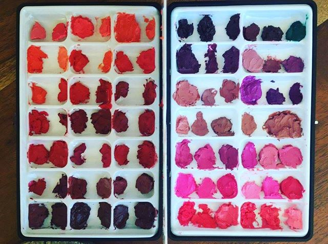 One of the palettes from #donnamee 's Mastering Corrective Lips. Students start off by making pro lip palettes with up to 100+ colors which will become a staple in their makeup kit. They will then learn how to turn their new lip palette colors into literally thousands of gorgeous lip looks. Want to Master lips? contact us for more information about Donna Mee's Beauty Boot Camp of 2017 www.meeinc.me DonnaMeeIncInfo@gmail.com #donnameemethods #makeupartists