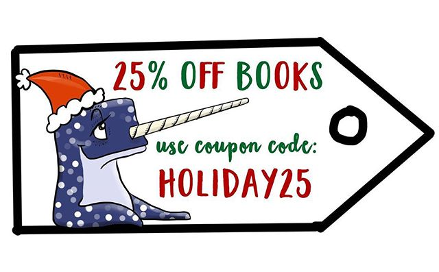 Share the joy of reading this holiday season!  Save 25% off of 'Narwhal Makes a Sandwich' books on our etsy page: www.threehornunicorn.etsy.com  Use coupon code: HOLIDAY25