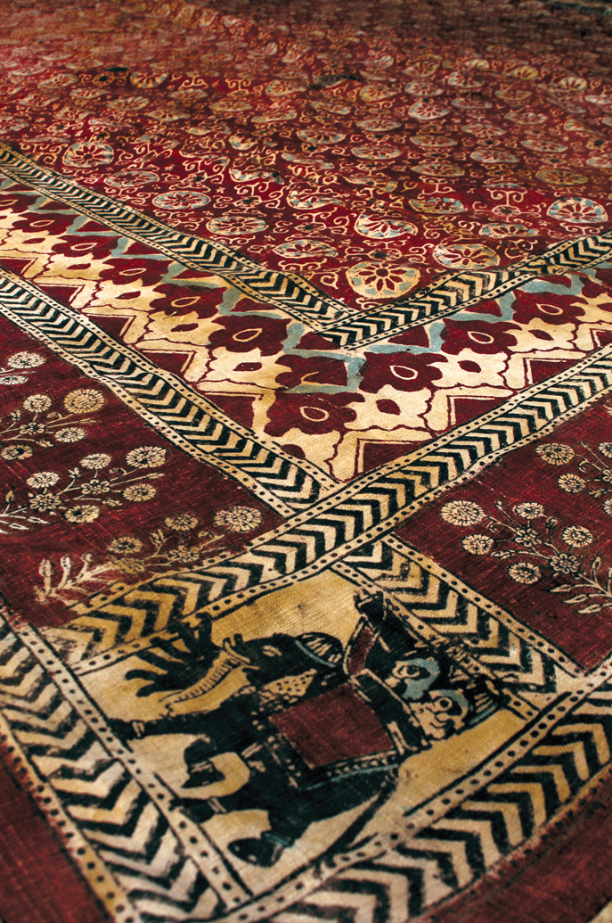 A block printed floor covering with a seven trunked  Airavat  elephant indicating its use for the Jadeja Rajput family, West Kachchh