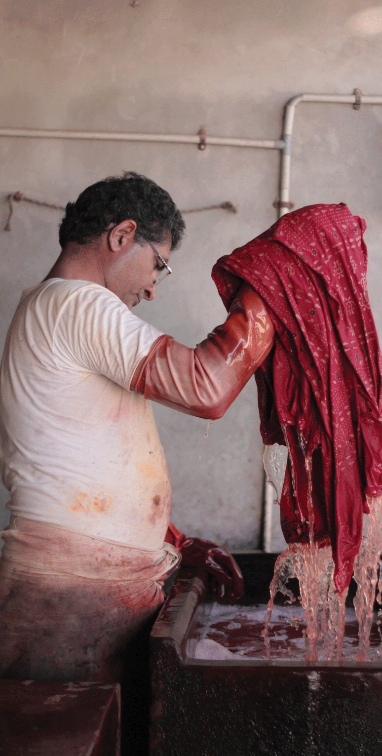 Chemical dyeing at a workshop in Bhuj