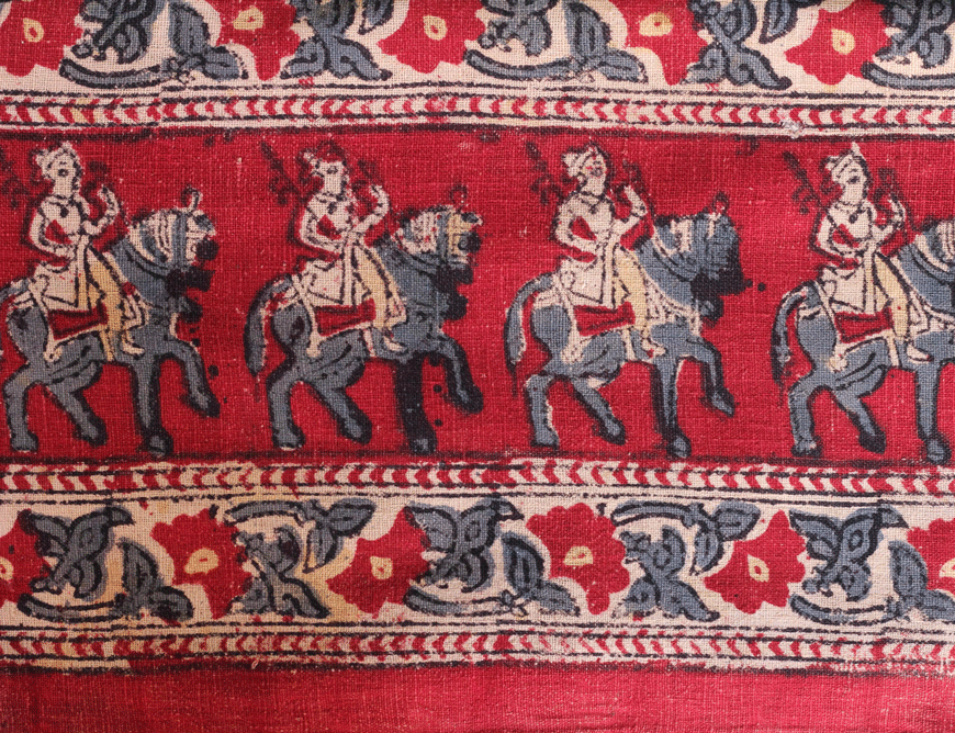 The motifs of soldiers with weapons seated on horses, popular amongst the fabrics printed in West Kachchh, is indicative of their use by the Jadeja Rajput clans