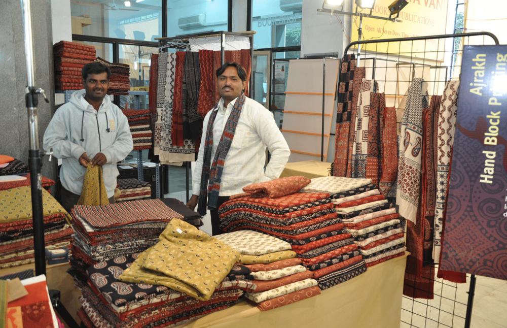 Block printers at a Delhi exhibition in 2011