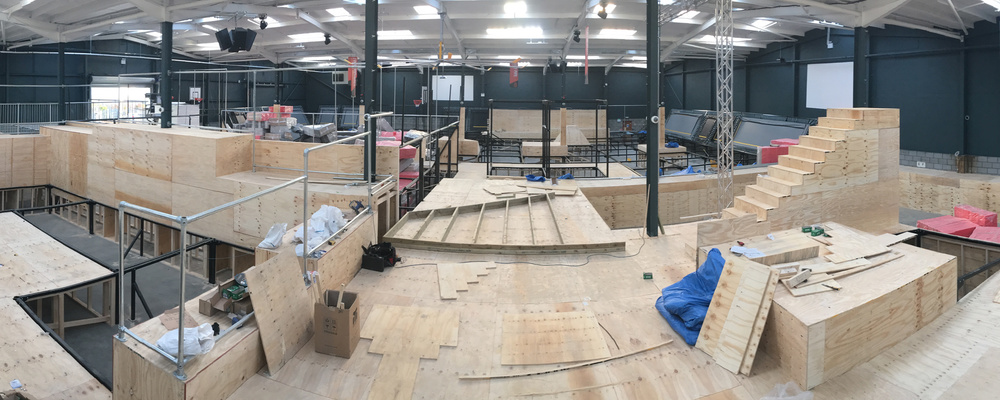 The walkways are starting to be constructed from timber for Jump Evolution Indoor trampoline park in Romford Essex