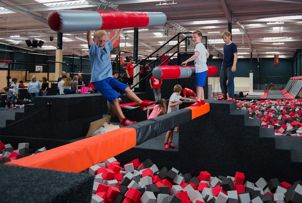 The battle beam at Jump Evolution Indoor trampoline park in Romford Essex