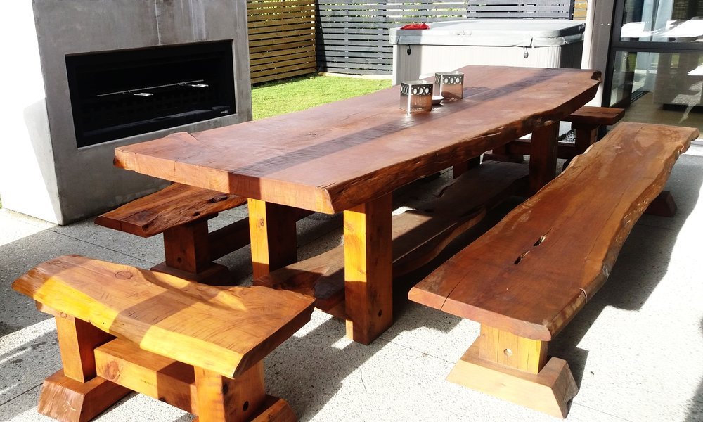 3m Macrocarpa Outdoor Table Set with all around seating. Rustic and chunky Texwood outdoor furniture.   Outdoor table price