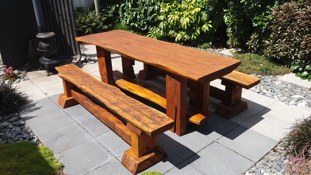 2.1m Rustic Macrocarpa Outdoor Table, set includes 2 full length bench seats. See   outdoor furniture price  .