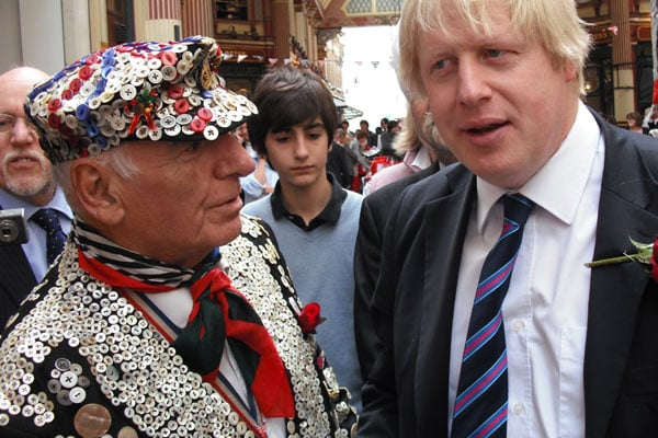 Alf with Boris in Leadenhall Market, City of London