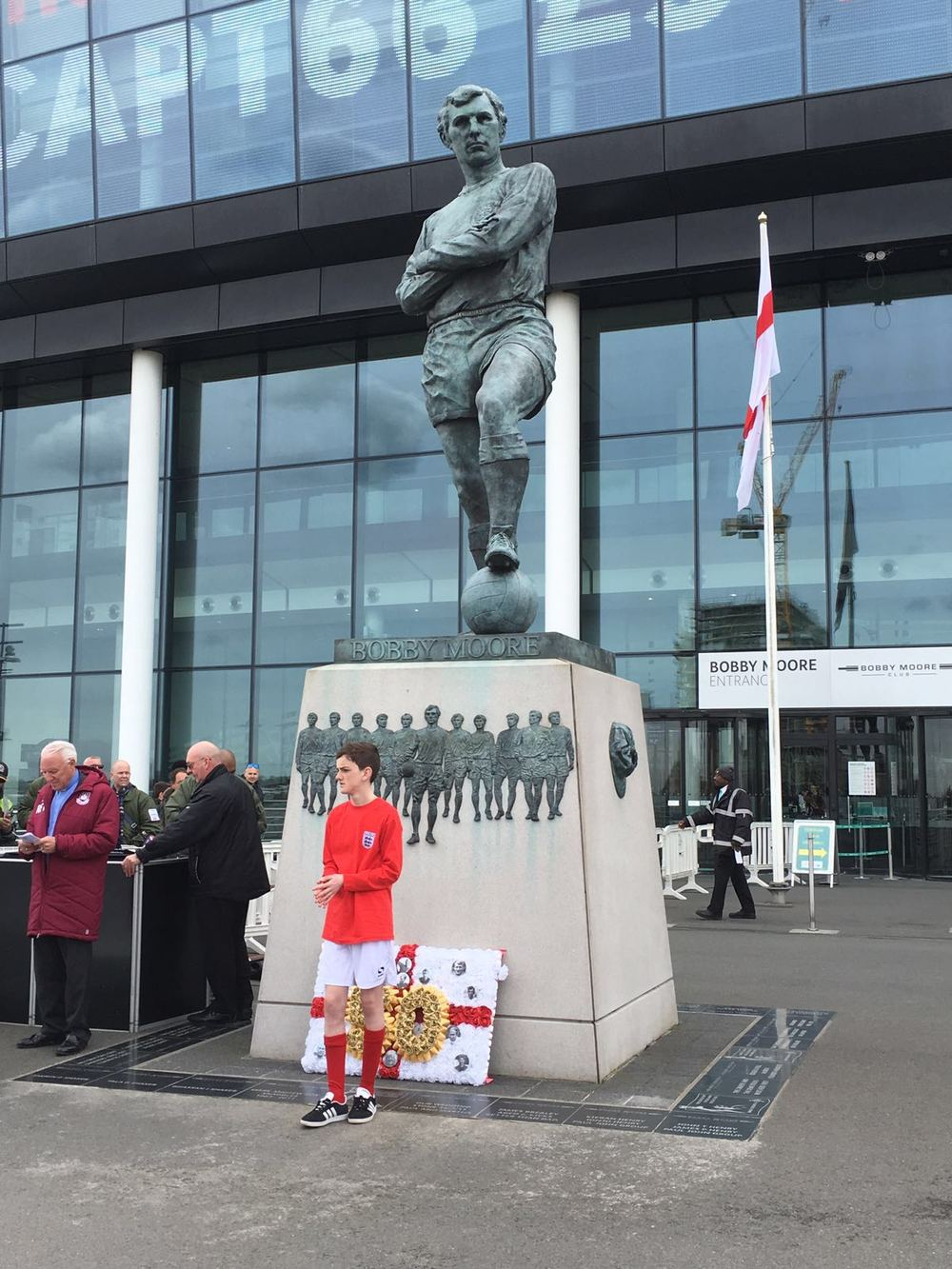Jonjo Heuerman has arrived at his final destination after walking and cycling 450 miles to return the Jules Rimet trophy back to Wembley for the 50th Anniversary of 1966.