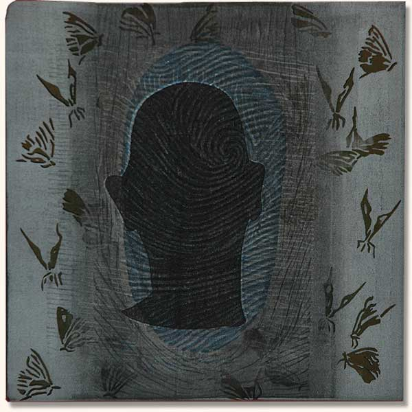 Tattooed Head with fingerprint and butterflies   (  Lino on sheshwe material)