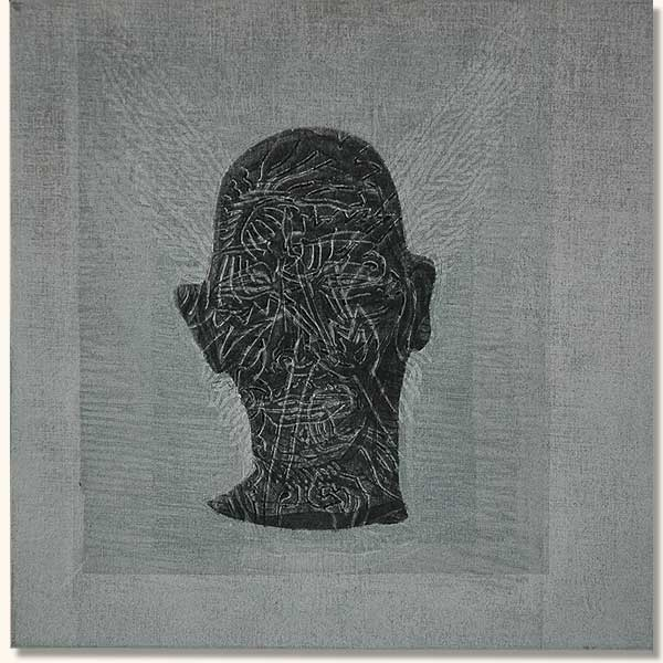 Tattooed Head, Black on White   (  Lino on sheshwe material)