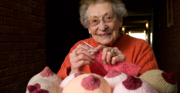 This great image of  91 yr old Coral Charles Dunne shows her knitting breasts, which are then used as an educational tool for breast feeding mothers.