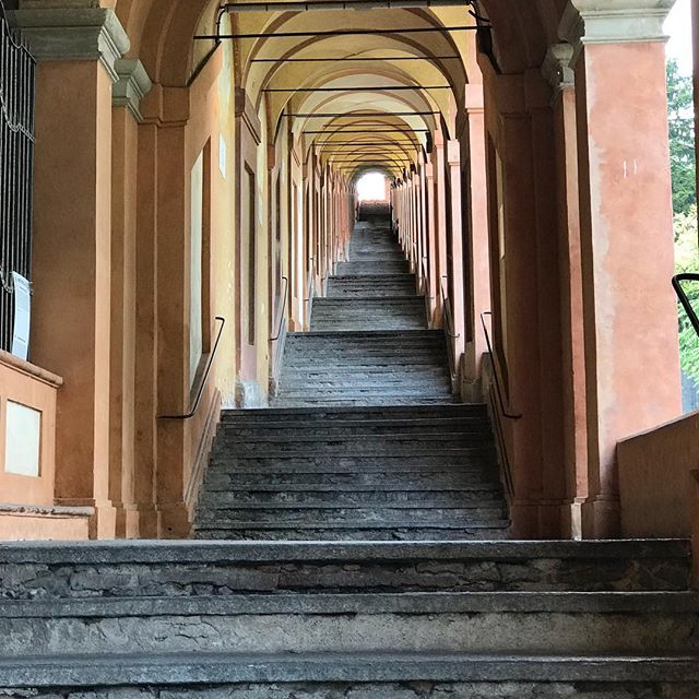 666 arch-long portico, the longest in hr world, climbs up the hillside in Bologna! Amazing views from the top, and a lot easier walking back down. #BurnOffThatPasta . . #Portico #Architecture #Italy #stairs #heaven #bologna