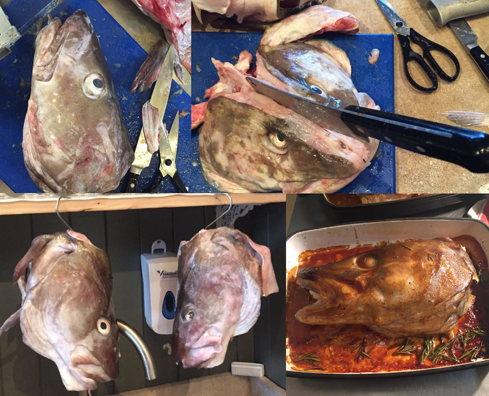 remove fins & gills, split head, brine, hang to drip dry, roast, baste abundantly